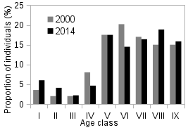 Graph of age distribution